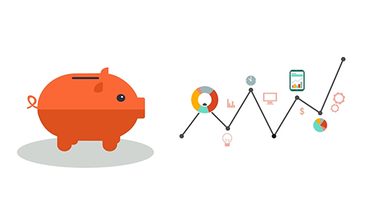 Graphic depicting investment accounts with illustrated piggy bank and line graph