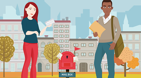 Understanding your paycheck and W2 - illustration of woman and man standing at mail box holding mail or paycheck and file folder