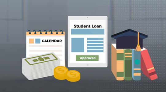icons of calendar, student loan paperwork, cash, and graduation hat