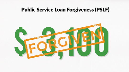 """Public Service Loan Forgiveness (PSLF). Graphic of """"3,100"""" and a """"FORGIVEN"""" stamp"""