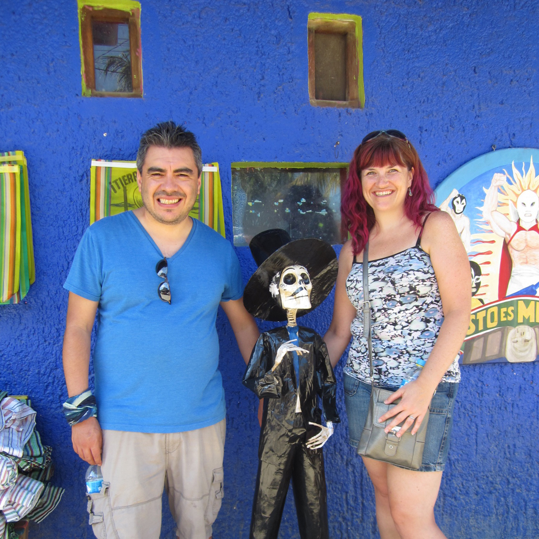 Alisha Churbe in Mexico with her husband
