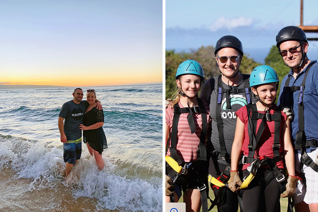 April Weissert employee spotlight_April at the beach with her husband and family photo with her family before using the zipline