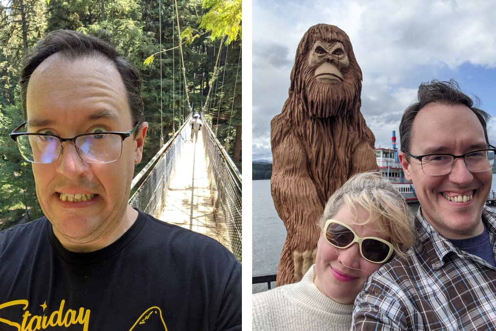David Biastock crossing a bridge and photo with sasquatch