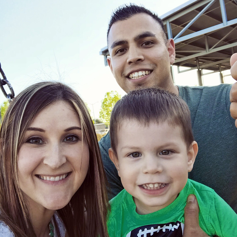 Eduardo Gomez family selfie with his wife and son