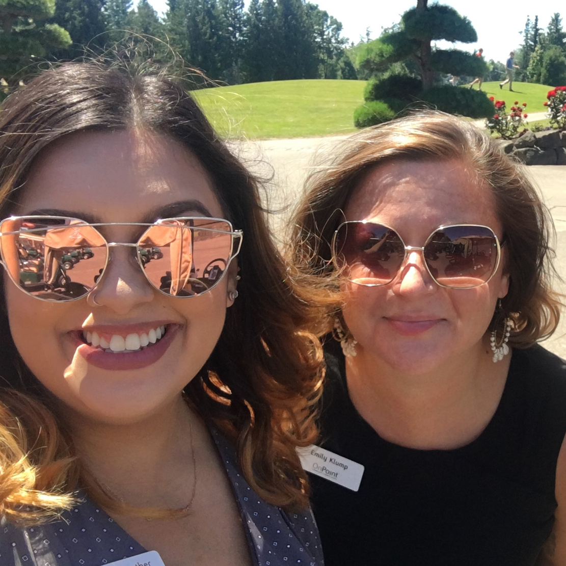 Emily Klump with Marnie Fairbrother at a local pacific northwest winery