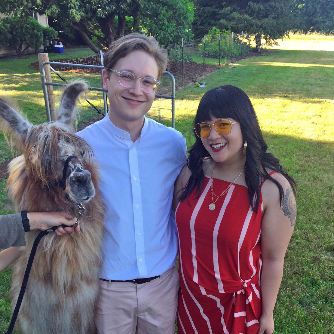 Jessica with her Boyfriend and a Llama
