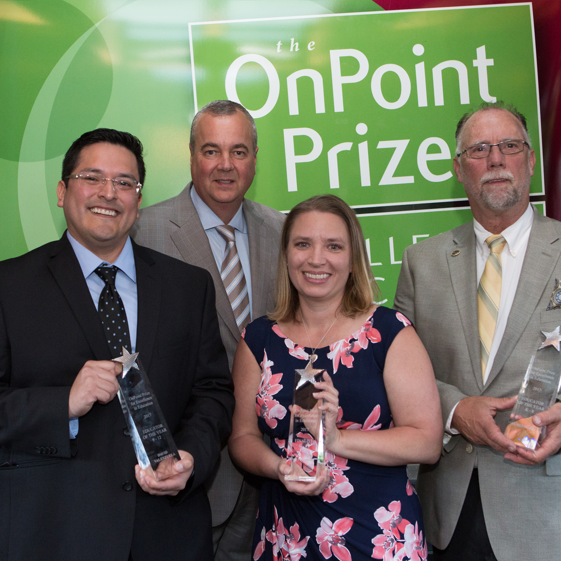 Rob Stuart with some of the 2017 Winners for the OnPoint Prize for Excellence in Education