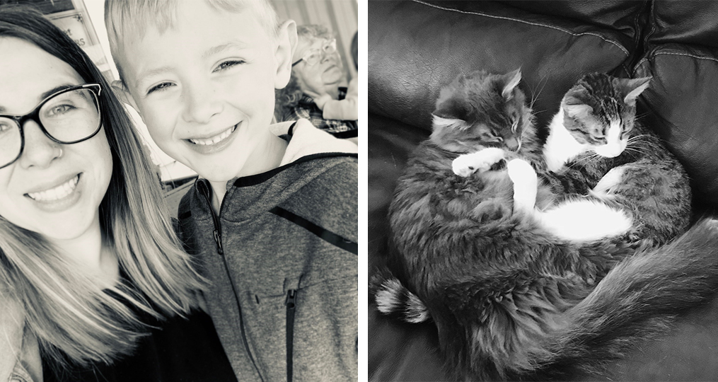 employee spotlight with Andrea Belz_Andrea with her son and two cats