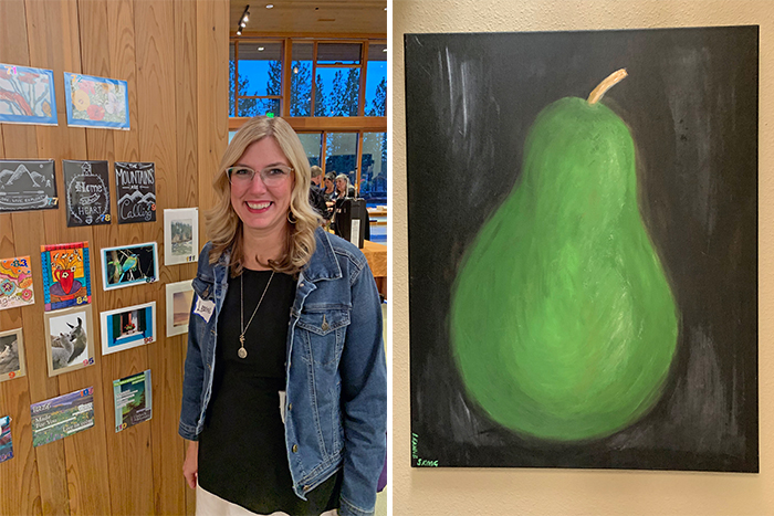 Leanne Skoog_Artist at an art auction with her paintings