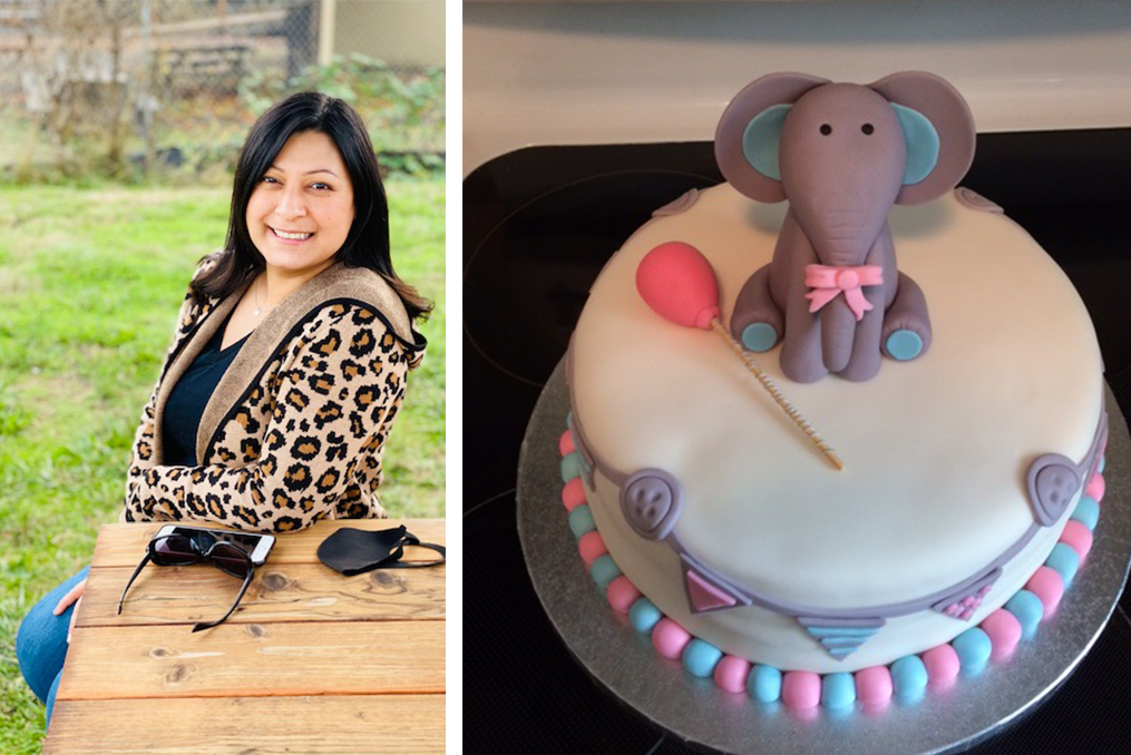 Spotlight Interview with Marlen Mendoza-Marlen sitting at a park bench and photo of a expertly decorated cake with fondent elephant for a baby shower