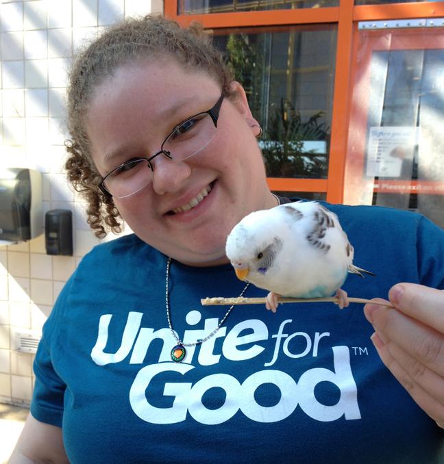 Meghan holding a bird
