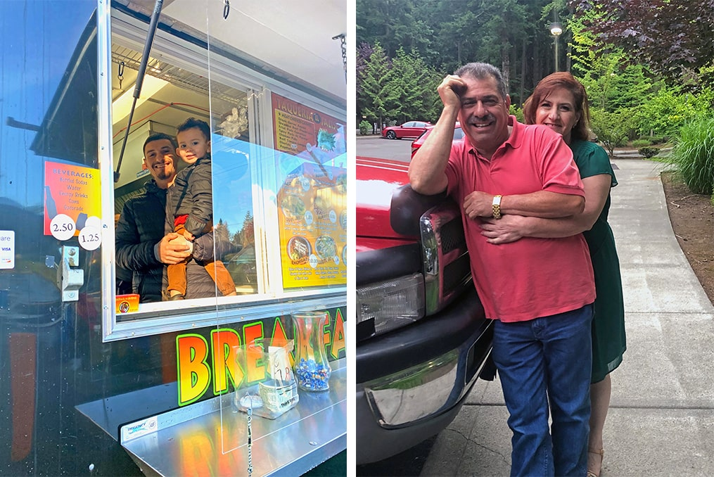 spotlight interview with Maritza Rich-maritza family - brother inside his food cart - parents hugging and smiling together