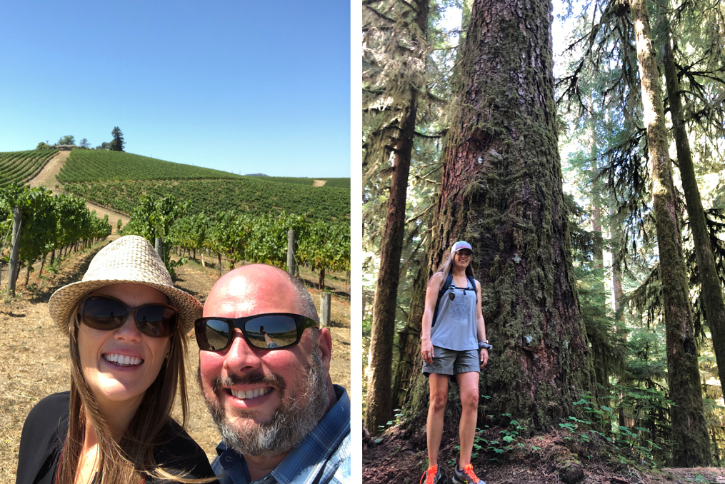Heather Kesterson Employee Spotlight_Heather hiking and visiting a Pacific Northwest winery