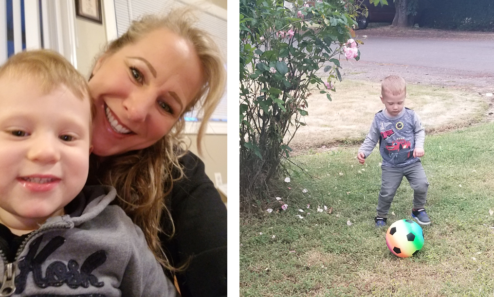 Mary with her grandson and grandson playing soccer