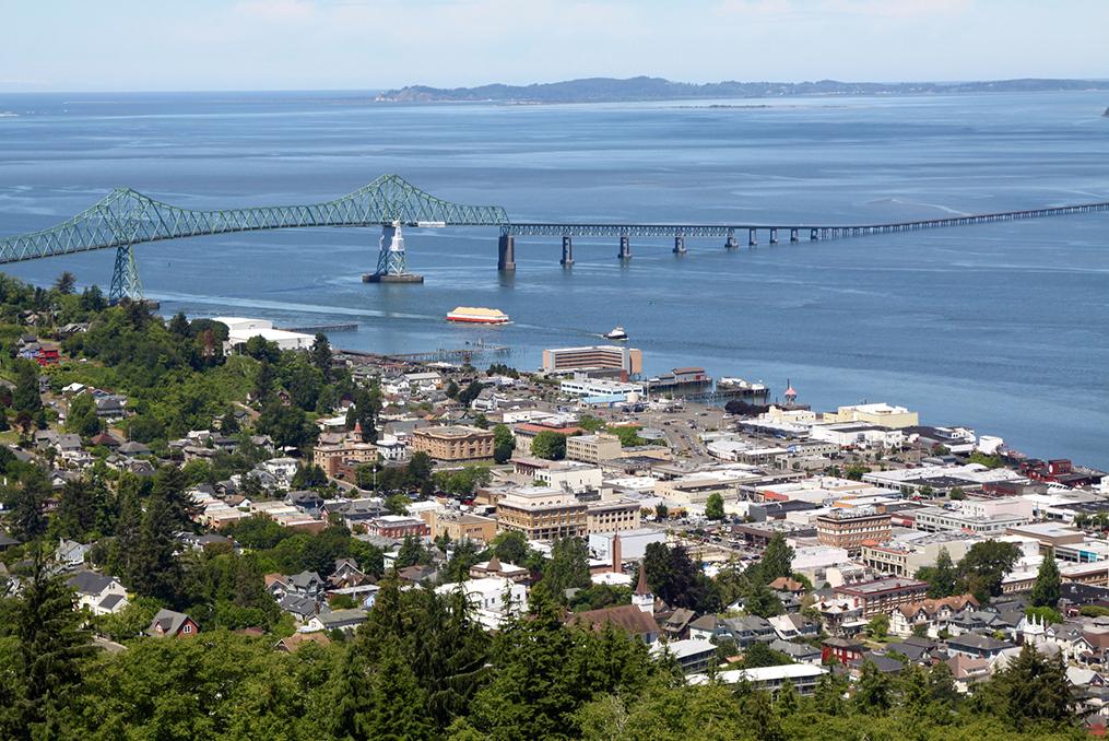 aerial view of downtown Astoria Oregon coast and bridge