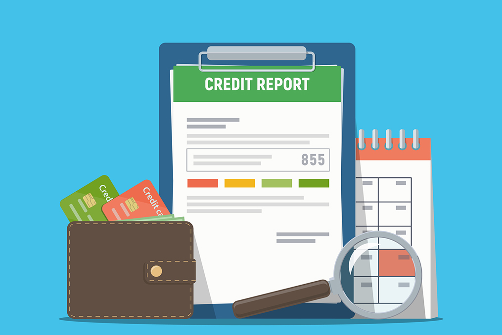 animated graphic of a credit report credit cards and a calendar