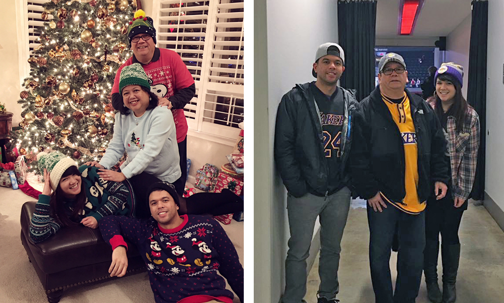 family at christmas time and supporting the lakers at the moda center