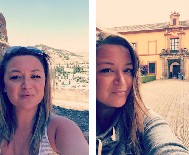 two selfie's of Emily Klump while traveling