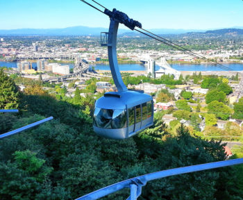 view of the OHSU Tram Portland Westside and Willamette River