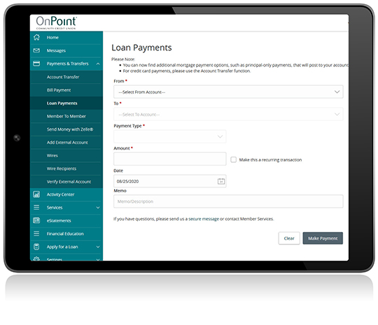 Loan Payments screen from Digital Banking on iPad
