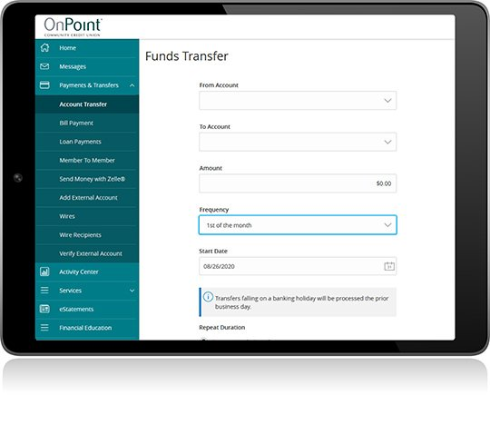 External Payments using Funds Transfer screen from Digital Banking on iPad