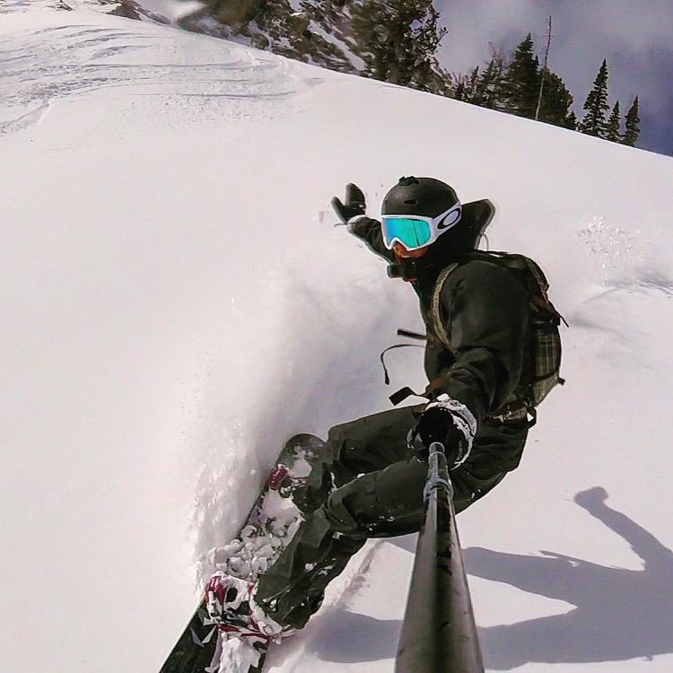 Mark snowboarding at Jackson hole using his GoPro