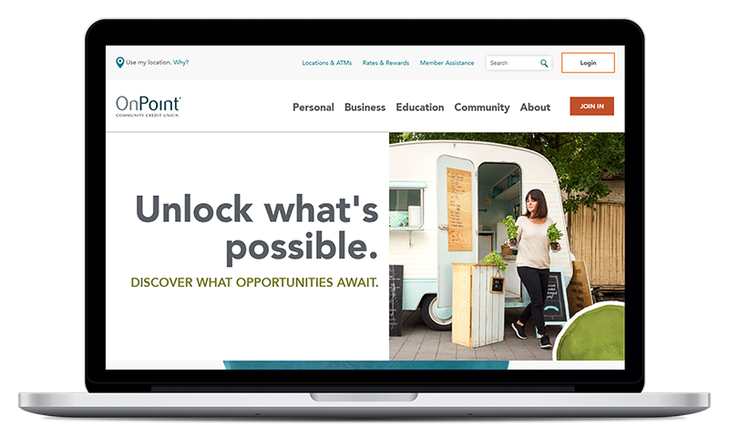 Screenshot of the new OnPointCU.com homepage