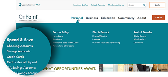 Sample image showing the intuitive new website navigation
